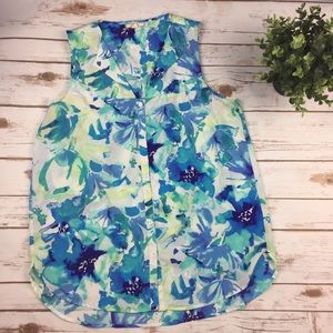 Pleione watercolor floral sleeveless blouse